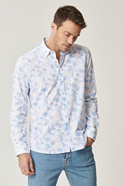 Erkek Beyaz-Mavi Baskılı Düğmeli Yaka Tailored Slim Fit Gömlek