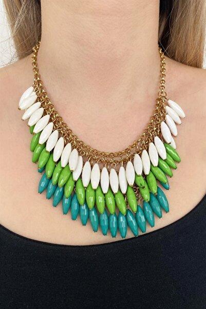 TAKIŞTIR Yeşil Ve Beyaz Renk Özel Tasarım Kolye