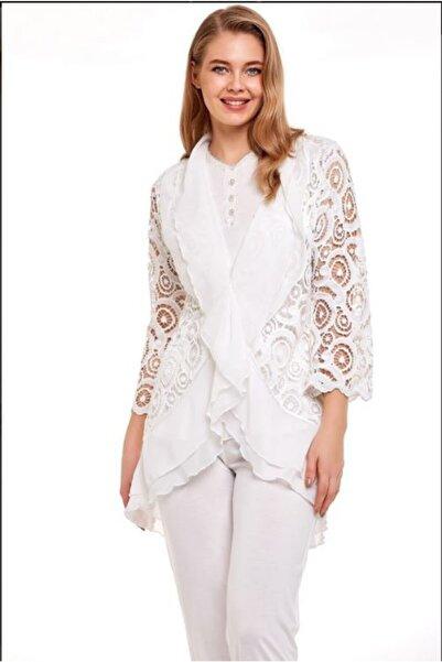 Marilyn Pijama Kadın Beyaz Pijama Takımı 3'lü 30311