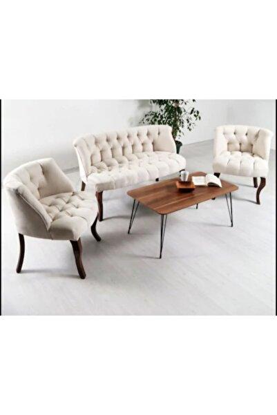 İndirim Çadırı Çay Seti Koltuk Takımı Salon Balkon Cafe Takımı 2+1+1 Çay Seti Takımı Krem