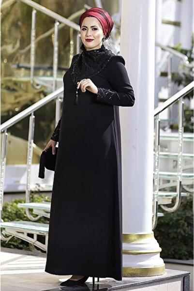 renklerevi Kadın Siyah Nesrin Emniyetli Mendil Yaka Abaya