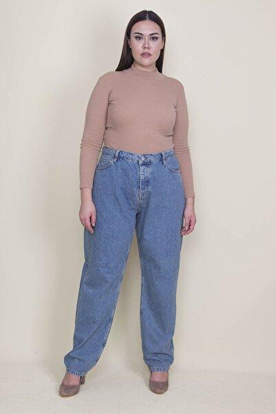 Şans Kadın Mavi Rahat Kesim 5 Cepli Kot Pantolon 65N21309