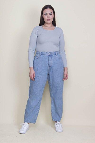 Şans Kadın Mavi Rahat Kesim 5 Cepli Kot Pantolon 65N21306