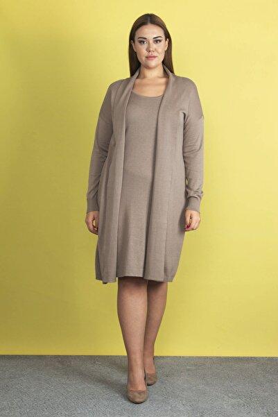 Şans Kadın Bej Ön Kısmı  Elbiseli  Hırka 65N19811