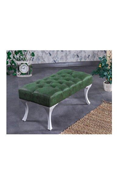 Ünüvar Konsept Dekoratif Dikdörtgen Puf Bench - Haki Yeşil