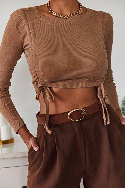 XENA Kadın Kahverengi Büzgülü Bluz 1KZK2-11036-18