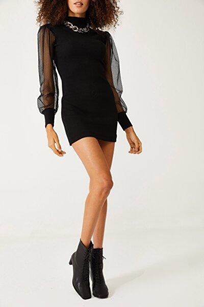 XENA Kadın Siyah Kolları Tüllü Elbise 1KZK6-11077-02