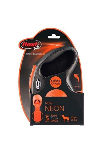 Flexi Neon Şerit Medium Turuncu 5 Metre M Otomatik Köpek Tasması