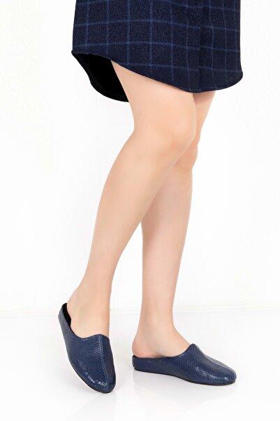 Gondol Kadın Lacivert Hakiki Deri Comfort Ev Terliği