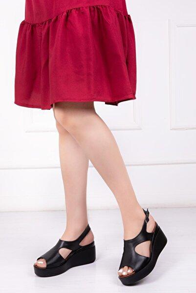 Deripabuc Hakiki Deri Siyah Kadın Dolgu Topuklu Deri Sandalet Dp-86284