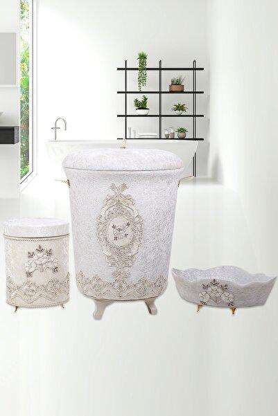 Bonny Home Lisa Krem 3lü Kadife Banyo Kirli Çamaşır Sepeti Seti