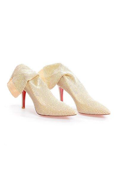 Flower Kadın Pudra File Taşlı Topuklu  Ayakkabı