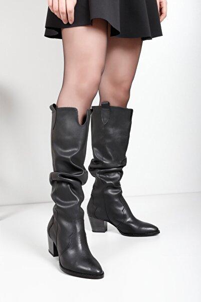 GÖNDERİ(R) Gön Siyah Süet Körüklü Western Kovboy Günlük Kadın Çizme 32241