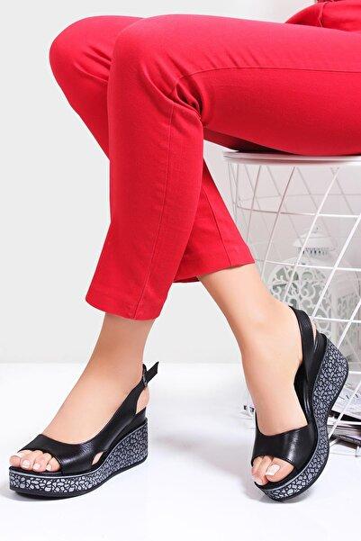 Deripabuc Hakiki Deri Siyah Kadın Dolgu Topuklu Deri Sandalet Dp26-5001