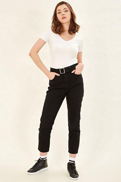 BARRELS AND OIL Kadın Siyah Tokalı Mom Pantolon