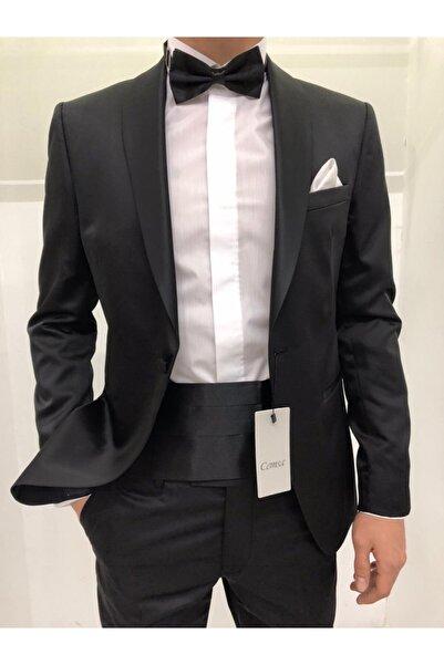 Cemsa Collection Erkek Siyah Şal Yaka Damatlık Takım Elbise