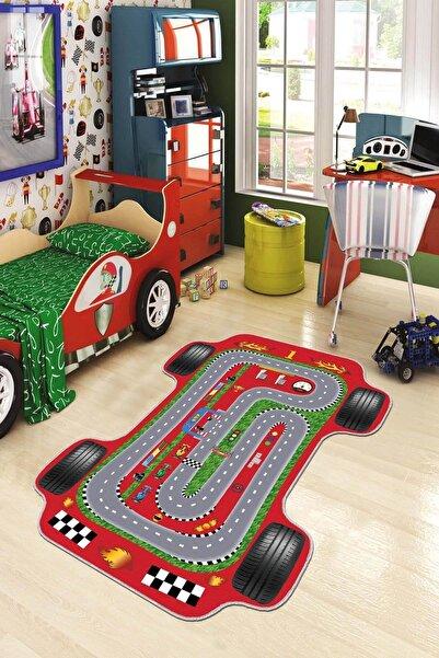 Viva Home Yarış Arabası Lazer Makinede Yıkanabilir Kaymaz Tabanlı Çocuk Halısı