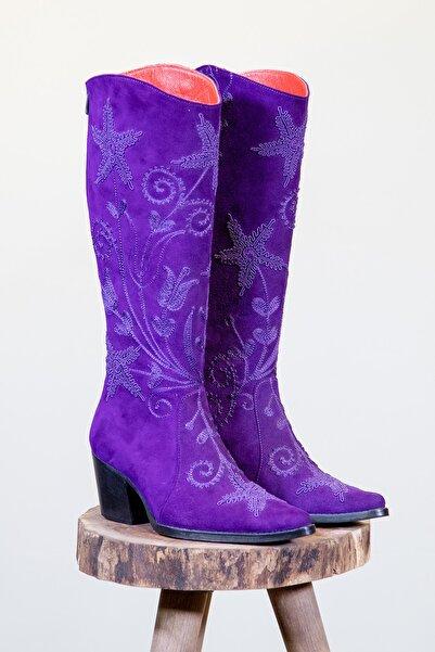 Denis Papin Kadın Mor Hakiki Deri Fermuarlı Desenli Çizme