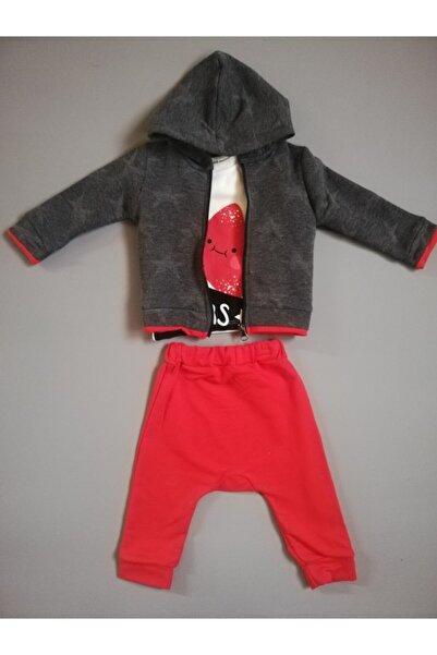 Miniworld Unisex Kırmızı Gri Yıldızlı Hırkalı 3'lü Bebek Takım