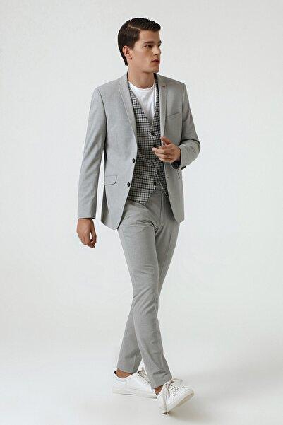 Twn Gri Renk Erkek  Yelekli Takım Elbise (Slim Fit)
