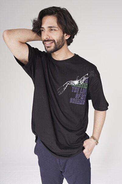 studiowas Erkek Siyah T-Shirt