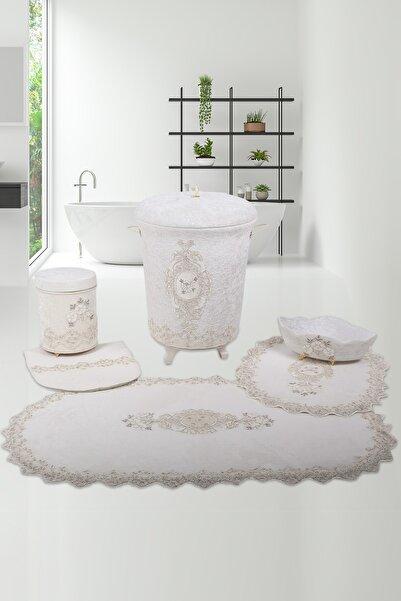 Bonny Home Lisa Krem 6 Parça Dantelli Banyo Kirli Çamaşır Sepeti Seti Banyo Paspası Seti
