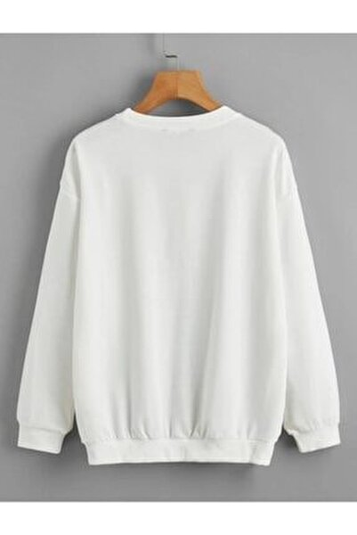 Unisex Beyaz Düz Basic Sweatshirt