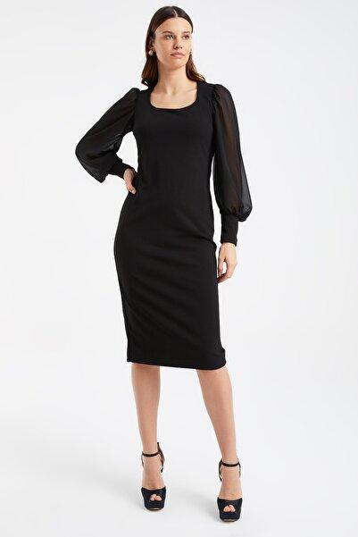 Laranor Kadın Siyah Şifon Prenses Kol Balerin Yaka Kalem Elbise