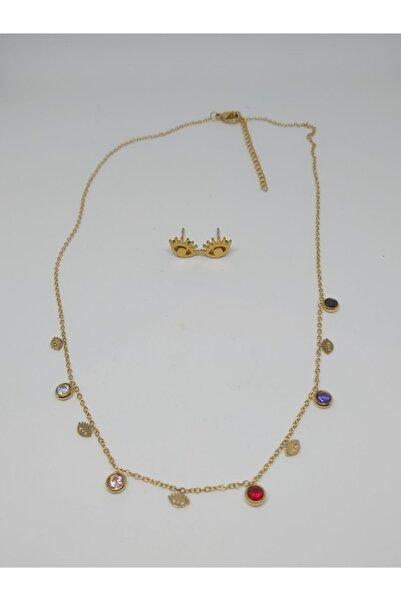 Romeo accessories Kadın Sarı Çelik Kolye-küpe Seti