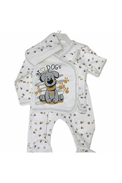 Ceylan Erkek Bebek Beyaz Hayvan Baskılı Şapkalı Pijama Takımı