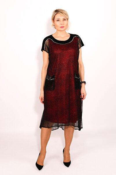 Vanity's Kadın Omuzları Kadife Floklu Büyük Beden Abiye Elbise