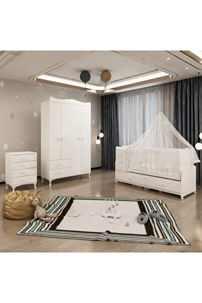 Garaj Home Melina Yıldız 4 Kapaklı Bebek Odası Takımı Beyaz - Yatak Ve Uyku Seti Kombinli- Uykuseti Beyaz