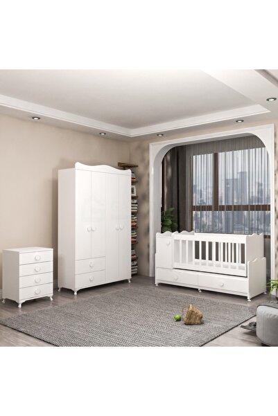 Garaj Home Pırlanta Yıldız 4 Kapaklı Bebek Odası Takımı - Beyaz