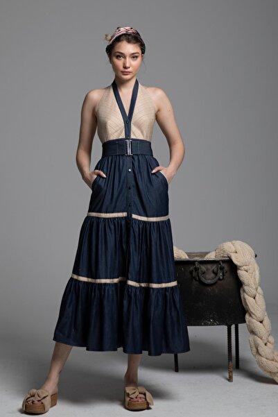 Tuba Ergin Kadın Lacivert Denim İpek Garnili Maxi Avril Elbise