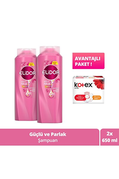 Elidor Güçlü Ve Parlak Şampuan 650ml X2 8'li Kotex Normal