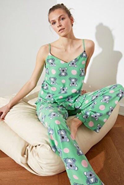 Koala Desenli Fırfırlı Dokuma Pijama Takımı THMSS21PT0475
