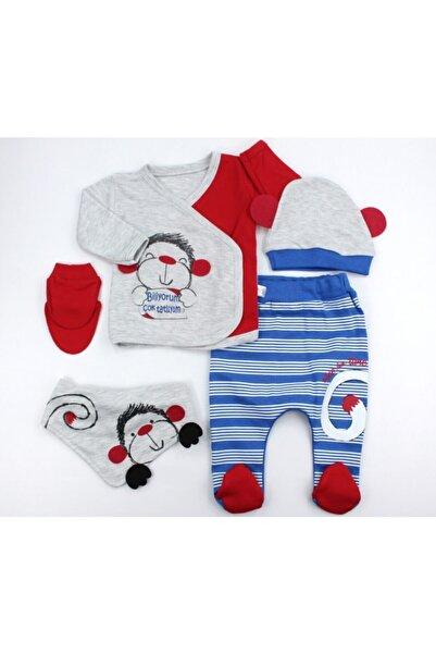VERONA TARZ Cute Monkey Erkek Bebek 5li Hastane Çıkış Seti Yenidoğan Kıyafeti