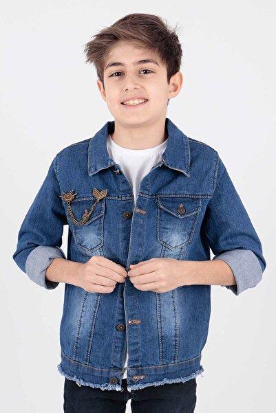 Ahenk Kids Erkek Çocuk Lacivert Arma Detaylı Jean Ceket Ak888946