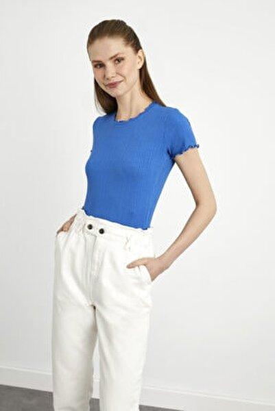 Kadın Mavi Kısa Kollu Fırfırlı Örme Bluz