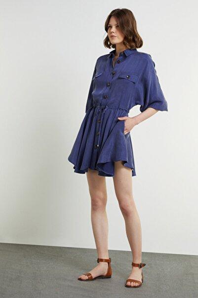 Network Kadın Mavi Beli Büzgülü Mini Gömlek Elbise 1078943