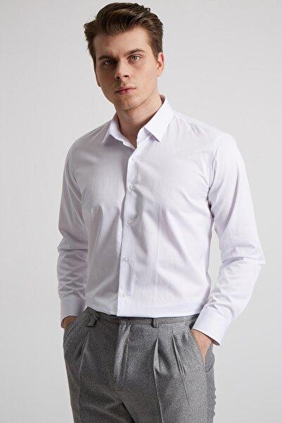 Fc Plus Erkek Beyaz Kravat Yaka Pamuk Gömlek - Slım Fıt