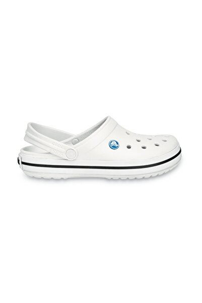 Crocs Beyaz Unisex Crocband Kenarı Siyah Beyaz Çizgili Terlik
