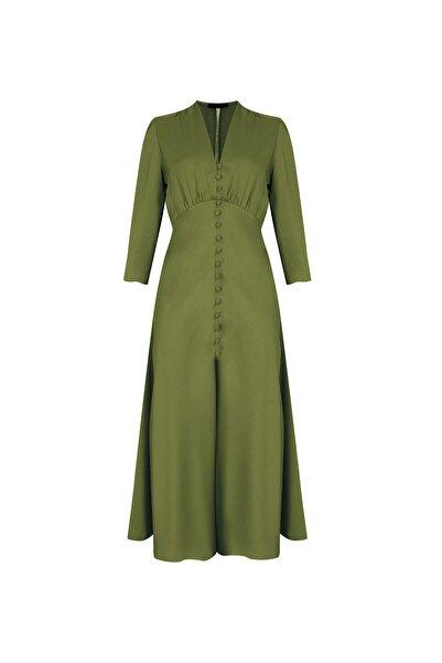 RİVUS Petunıa Kadın Haki Önden Düğmeli Saten Midi Elbise