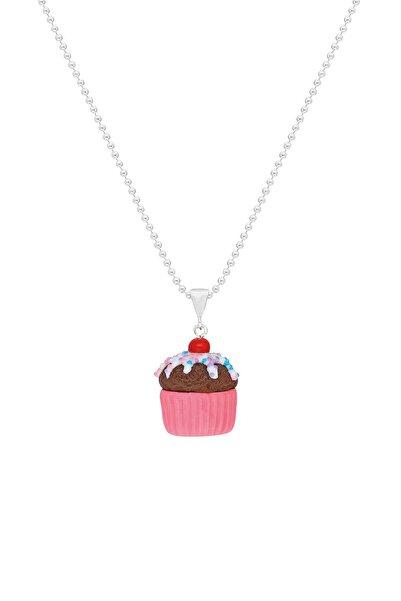 Tres Jolie Lollie Kız Çocuk Gümüş Kolye El Yapımı Cupcake