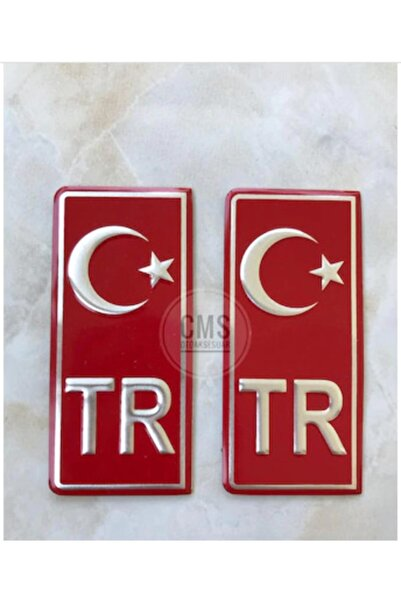CMS OTO AKSESUAR Tr Plaka Stıcker 2'li - Türkiye Plaka Stıcker - Türkiye Plakalık Stickeri