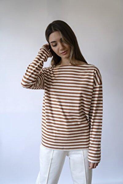 Çizgili Uzun Kollu Kayık Yaka T-shirt