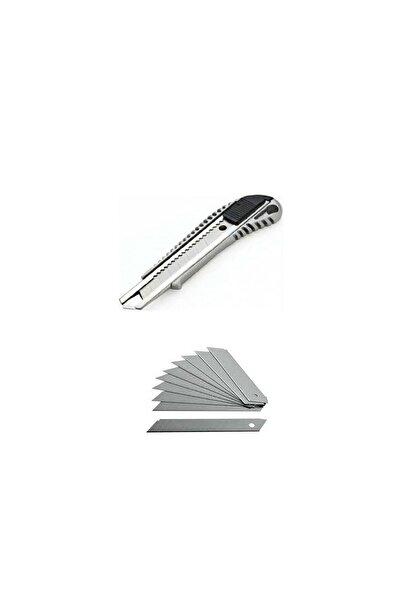 HMO Dizayn Metal Geniş Ağızlı Maket Bıçağı ve 10 Adet Falçata Bıçağı