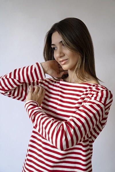 BeCasual Çizgili Uzun Kollu Kayık Yaka T-shirt