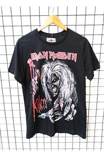 Lucky Boy Unisex Siyah Kayrakarakutu Iron Maiden Lucky Rock Metal T-shirt