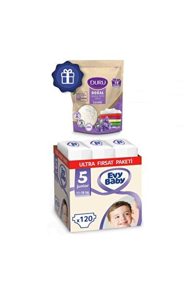 Evy Baby Bebek Bezi 5 Numara Junior Ultra Fırsat Paketi 120 Adet Ve Duru Granül Sabun 400gr